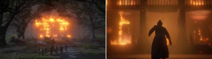 ブレスウェイト荘園が燃えるシーン
