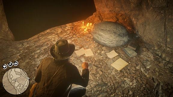 洞窟に落ちてる本や書類