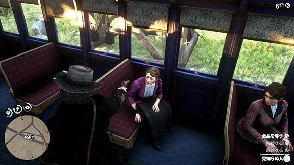 盗賊7で列車強盗をしている光景