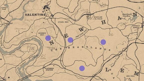 狩猟家2のウサギの居場所のマップ