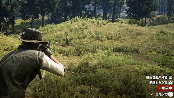 狩猟家4の鹿を獣笛で呼ぶシーン