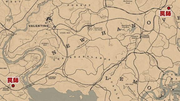 サバイバリスト2の罠師がある場所のマップ