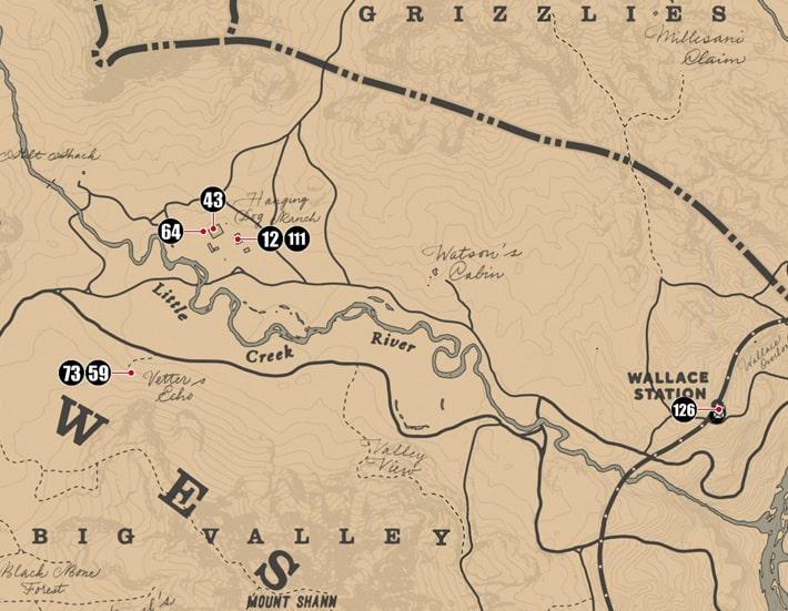 ウェストエリザベス州にあるシガレットカードのマップ