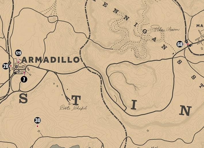 ニューオースティン州にあるシガレットカードのマップ