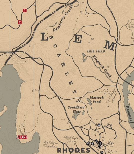 レッドデッドリデンプション2の馬車強盗 - ビルのミッションの攻略マップ
