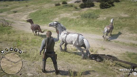 空砲で馬でビビらせてる光景