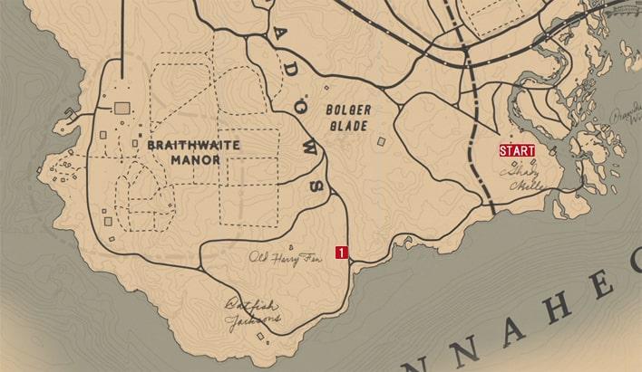レッドデッドリデンプション2の馬車強盗 - レニーのミッションの攻略マップ