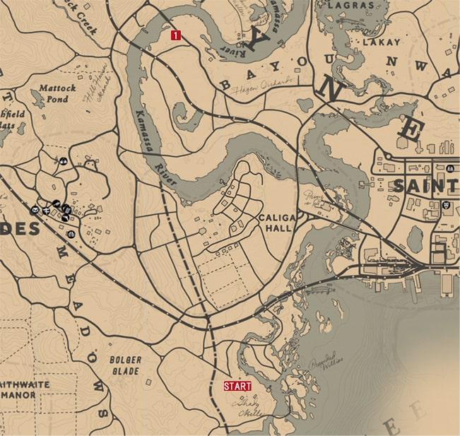 レッドデッドリデンプション2の馬車強盗 - マイカのミッションの攻略マップ