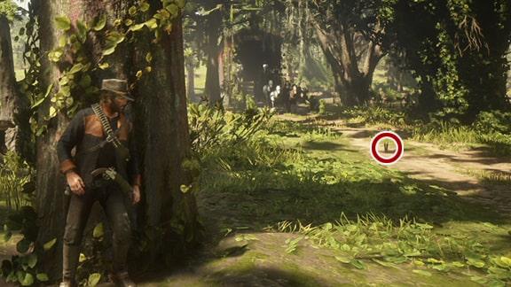 アーサーが木の所に隠れる光景