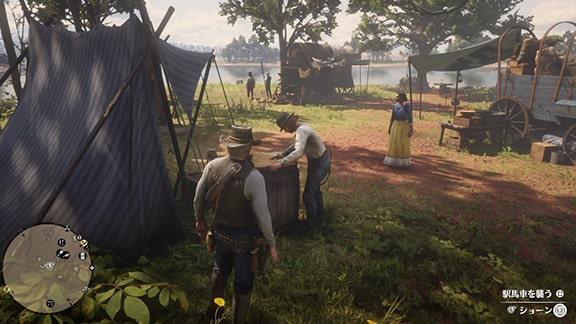 馬車強盗のミッションを開始できるショーンがいるクレメンスポイントのキャンプ場
