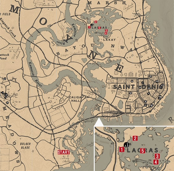 レッドデッドリデンプション2の田舎での気晴らしのミッションの攻略マップ
