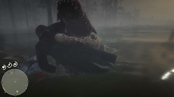 巨大ワニに喰われるシーン