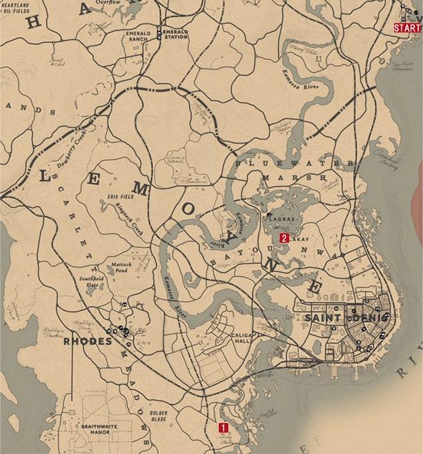 レッドデッドリデンプション2のタキトゥスおじさんへのミッションの攻略マップ