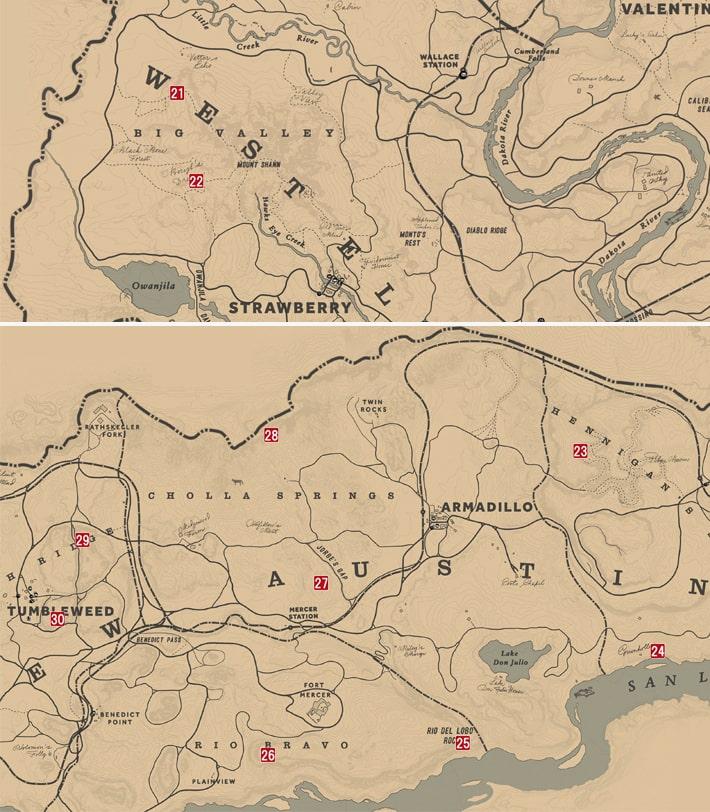 No.21~30の恐竜の化石の発見場所マップ