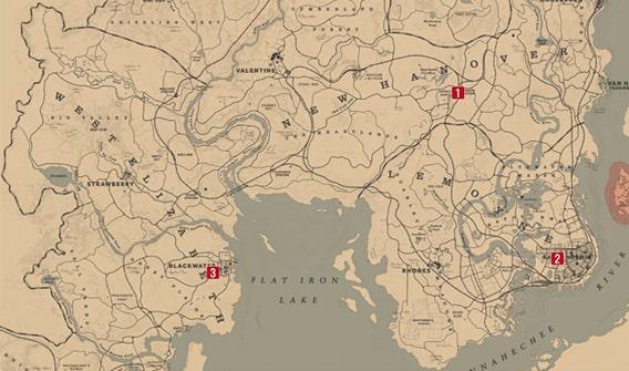 ドミノをプレイできる場所のマップ