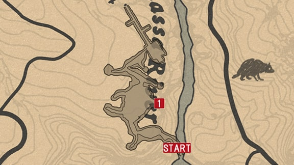 エリュシオンプールの滝の進み方のマップ