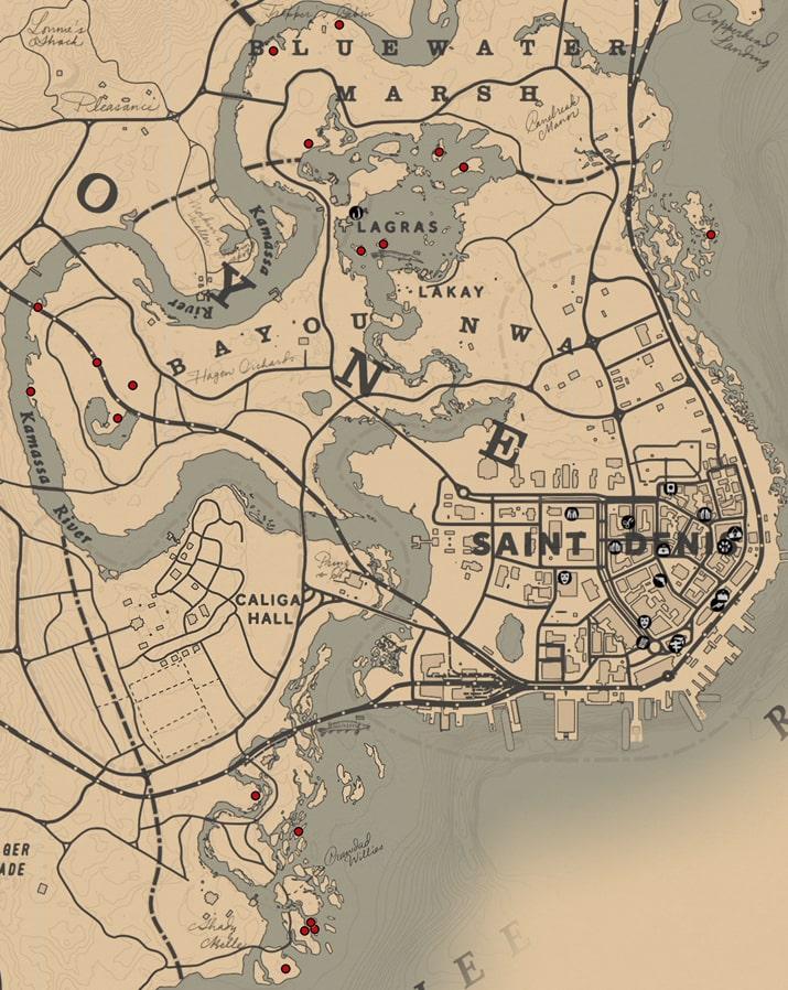 ワニの卵の入手場所のマップ