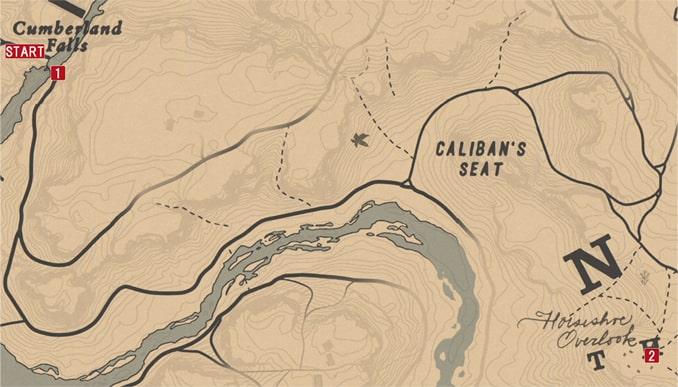 レッドデッドリデンプション2の東へ…のミッションの攻略マップ