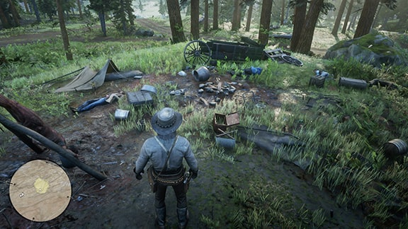 襲撃されたキャンプ場を調べる様子