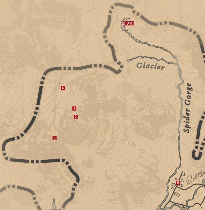 レッドデッドリデンプション2の記憶に追われのミッションの攻略マップ