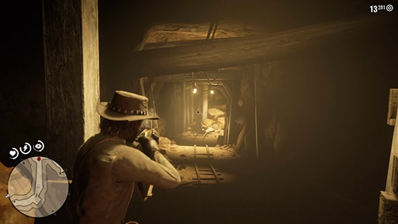 鉱山でエステバンを狙撃する様子