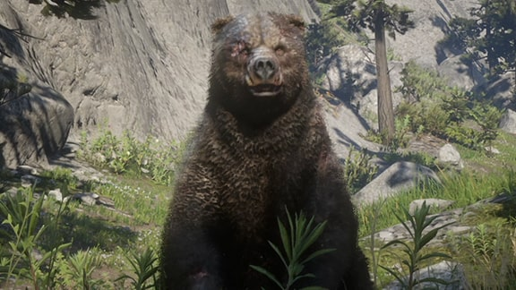 伝説の熊が現れるシーン