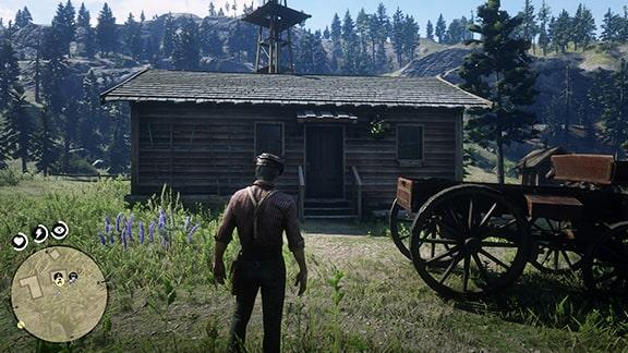 ミッションを開始できるプロングホーン牧場の家前