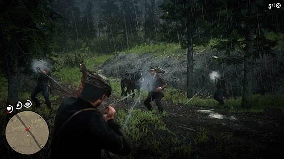 民警団との銃撃戦シーン