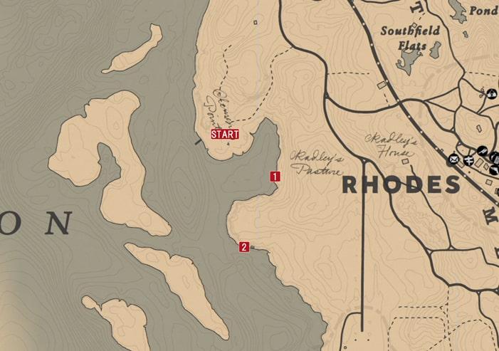 レッドデッドリデンプション2の釣り(キーラン)のミッションの攻略マップ