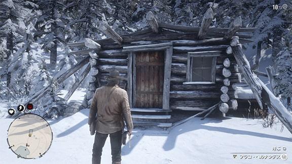 フラコ・ヘルナンデスがいる小屋前