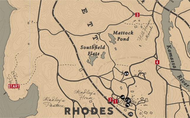 レッドデッドリデンプション2の意気消沈した友人のミッションの攻略マップ