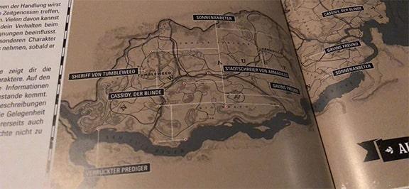レッドデッドリデンプション2のガイドマップに記載されてたマップ画像
