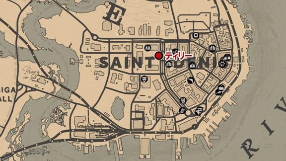 サンドニのティリーがいる場所のマップ