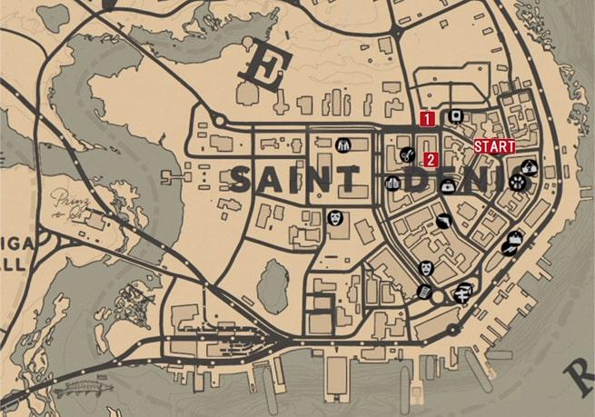 レッドデッドリデンプション2のさらば、我が友よのミッションの攻略マップ