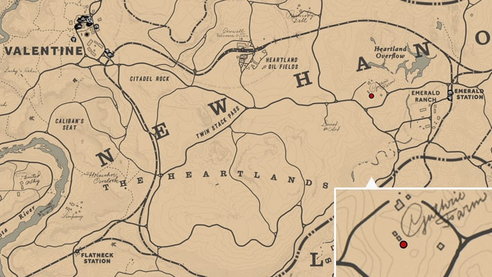 ガスリー農場の場所のマップ