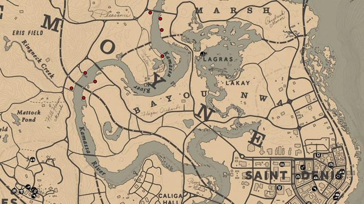ガマの入手場所のマップ