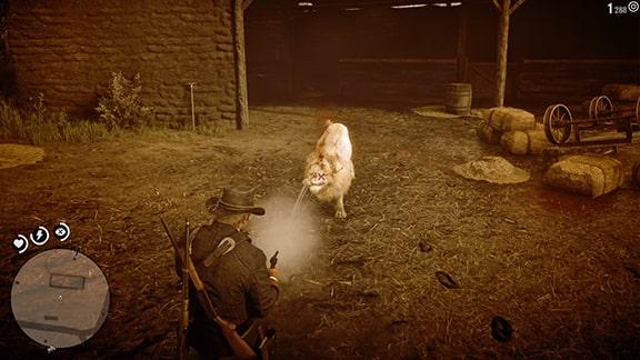 ライオンにデッドアイで射撃しているシーン