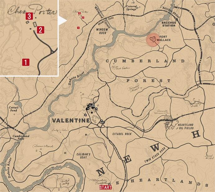 レッドデッドリデンプション2の民家強盗のミッションの攻略マップ