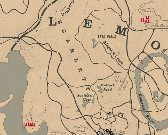 レッドデッドリデンプション2の民家強盗『ショーンと社交訪問』のミッションの攻略マップ