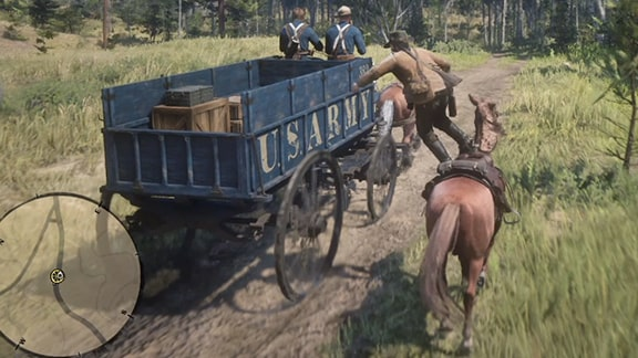 馬車の荷車に飛び移るアーサー