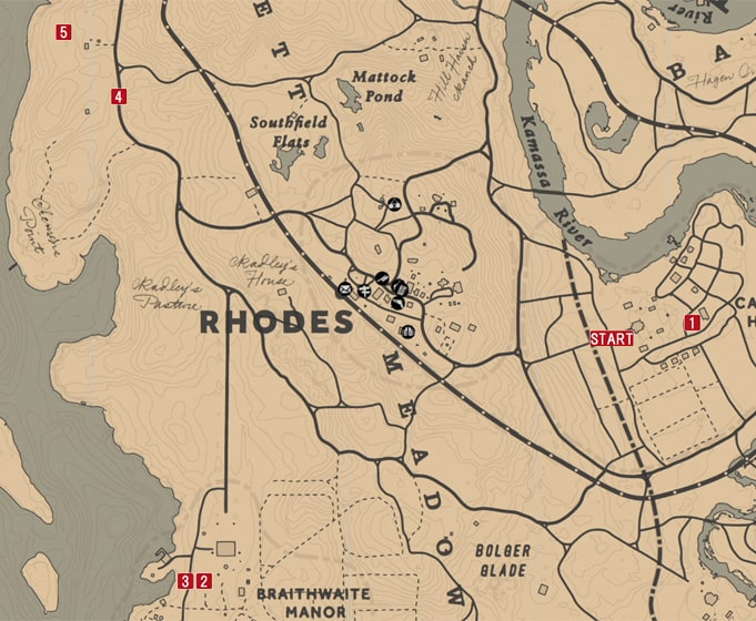 レッドデッドリデンプション2の夕食は馬肉のミッションの攻略マップ