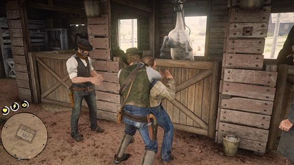 馬の世話係を始末している画像