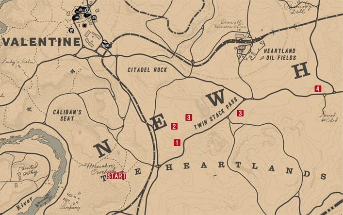 レッドデッドリデンプション2の狩猟(チャールズ)のミッションの攻略マップ