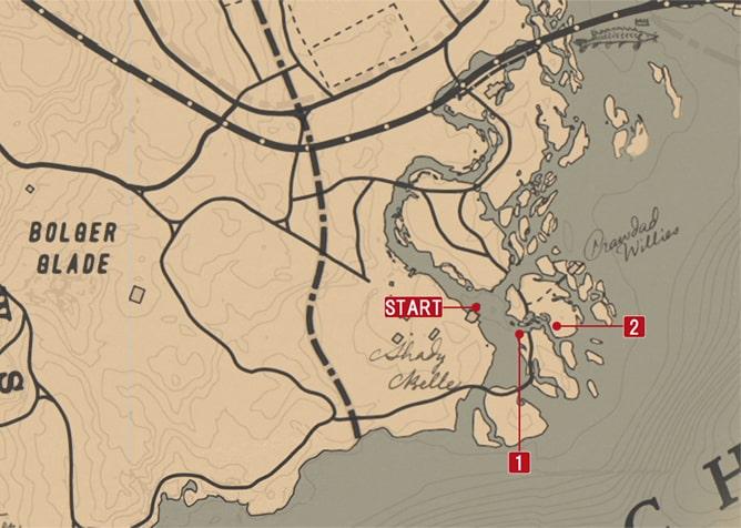 レッドデッドリデンプション2の狩り - ピアソンのミッションの攻略マップ