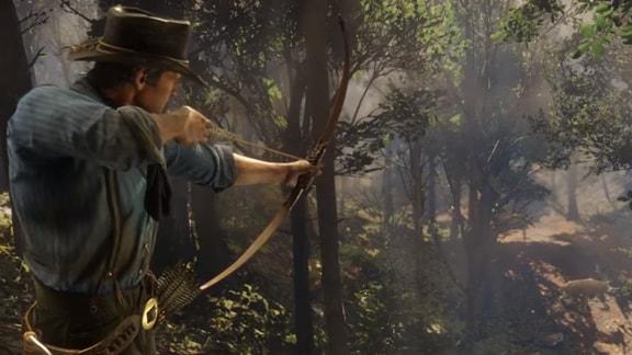アーサーが弓矢で動物をハンディングしている画像