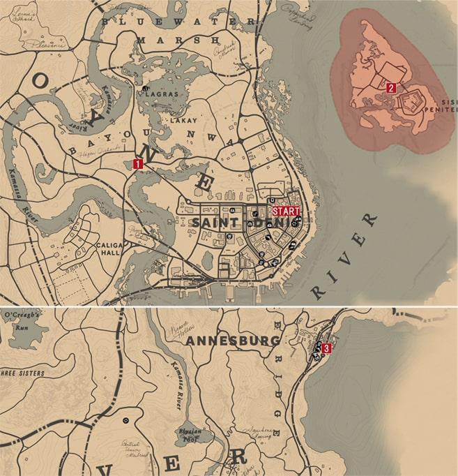 レッドデッドリデンプション2のイカロスと仲間たちのミッションの攻略マップ