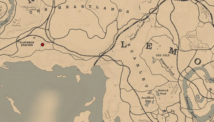 キーランのゴボウの入手場所のマップ