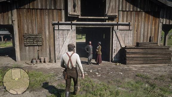 ミッションを開始できるゲデスがいるプロングホーン牧場