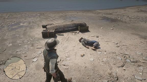 打ち上げられた死体とボート