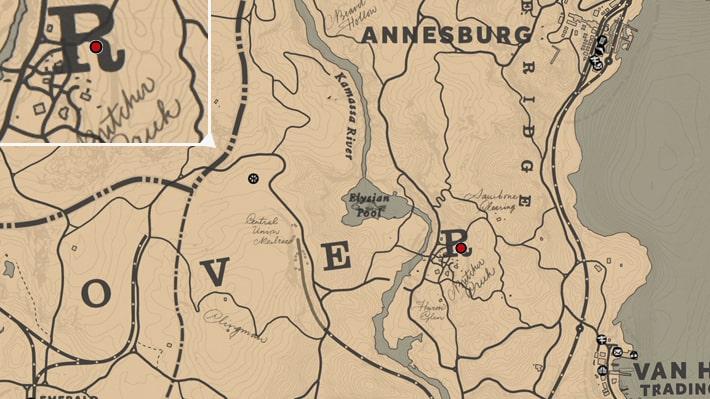 ブッチャークリークで光る謎の魔法陣の場所マップ